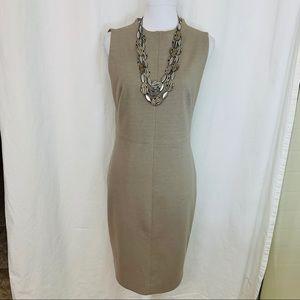 Tahari Sheath Career Cocktail Taupe Dress 8